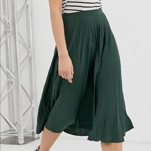 ASOS Green Pleated Midi Skirt Sz 14